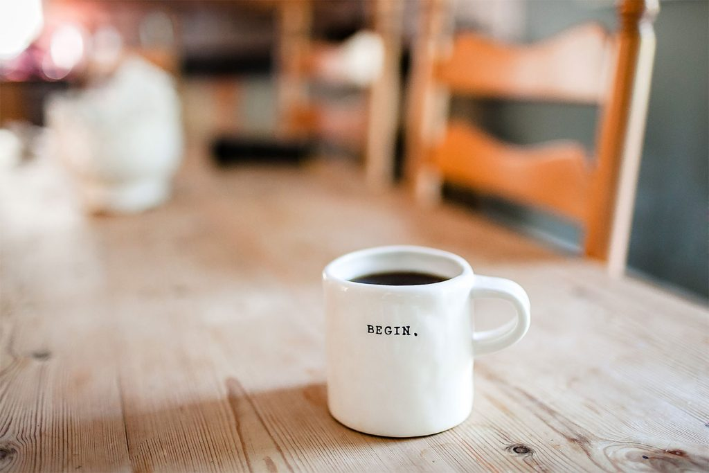 Mug on a table at a Portland Brand Agency